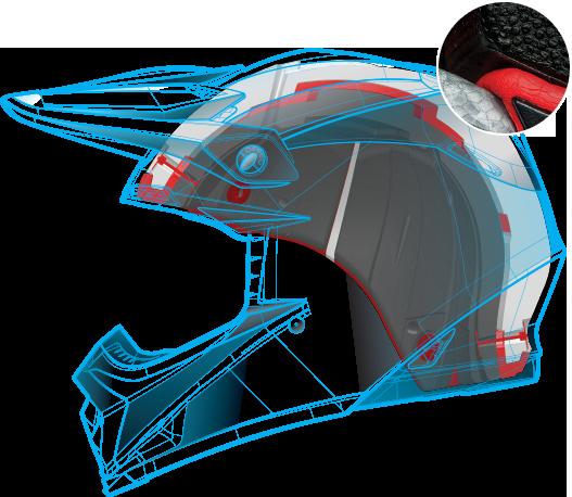 Moto-9 helmet technical drawing